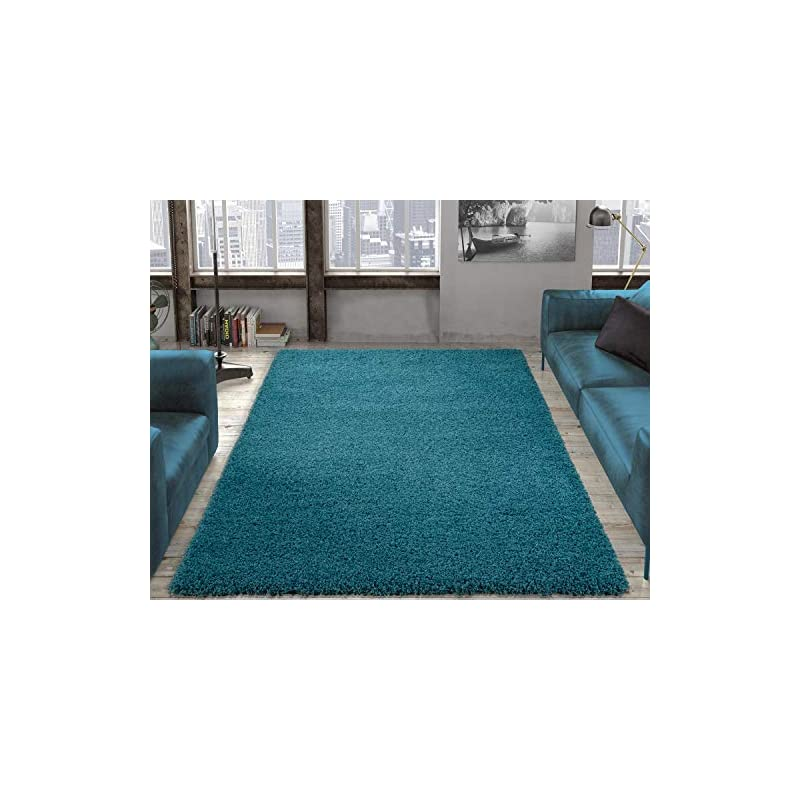 """crib bedding and baby bedding ottomanson collection solid shag rug, 7'10"""" x 9'10"""", turquoise"""