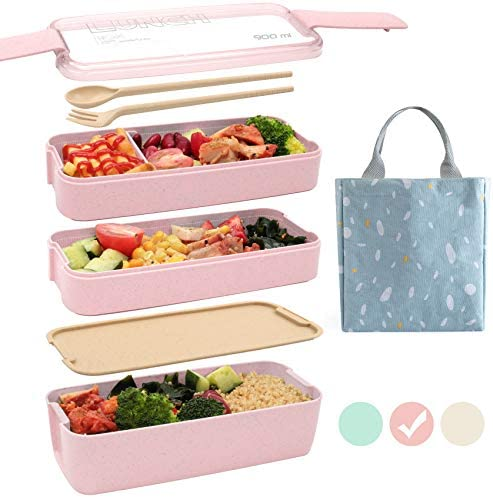 Ozazuco Bento Box for Kids Japanese Lunch Bento Box 3 In 1 Compartment Wheat Straw Leakproof product image