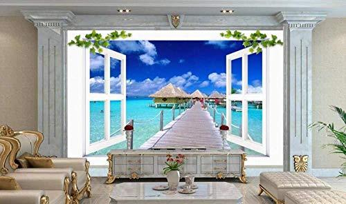 Behang 3D muurschildering houten brug huis buiten mediterraan raam 3D muurschildering woonkamer bank TV muur slaapkamer behang (W)250x(H)175cm (W)250x(h)175cm