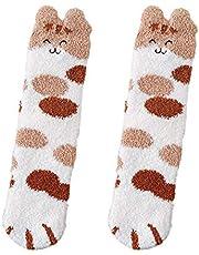 GGsheng Vrouwen Winter Fuzzy Slipper Sokken Cartoon Oren Kat Paw Warm Slapen Hosiery Gift