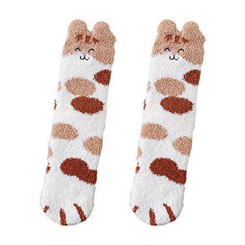 XIANGBEI Women Winter Fuzzy Slipper Socks Cartoon Ears Cat Paw Warm Sleeping Hosiery Gift Crazy Novelty Funky Socks for Women, Fancy Casual, Winter Socks with Unique Striking Design