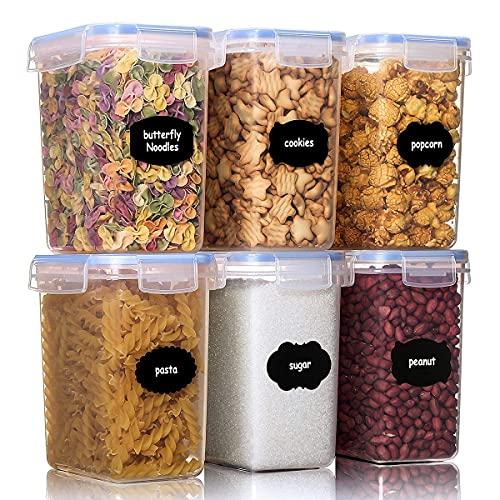 Aitsite Boîte de Conservation Alimentaire 6 Pcs (1.6L) Boîtes de Rangement pour Céréales sans BPA Récipient de Stockage en Plastique pour Stockage des Aliments, des Épices, des Bonbons Etc