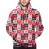 Men's Hoodies Sweatshirts,Different Colored Frames with Romantic Sayings Heart Icons Special Celebration,Medium