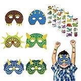 18er Dinosaurier Masken Party Schaumstoff Dinosmasken Kinder Augenmaske mit 5 Dino Sticker Mitgebsel...