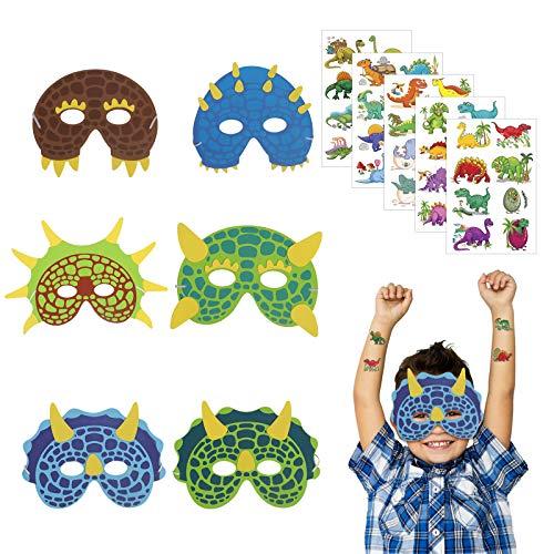 18er Dinosaurier Masken Party Schaumstoff Dinosmasken Kinder Augenmaske mit 5 Dino Sticker Mitgebsel für Kindergeburtstag Maskerade Weihnachten Halloween Cosplay