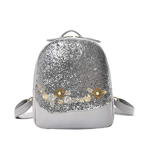 Gofodn Mini-Mädchen-Rucksack für Damen, Blumen-Design, Pailletten, Reißverschluss, multifunktional, Reise-Schultertasche, Rot - silber - Größe: XL