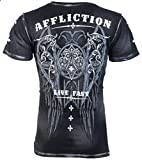 Affliction Mens T-Shirt Royale Wings Black Tattoo Motorcycle Biker MMA (X-Large)