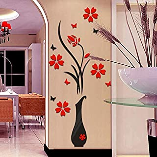 Iusun Wall Sticker Removable Vase Flower Tree Crystal Arcylic DIY Self-adhesive Wall Paper Decoration for Room Home Nursery Bedroom Office Supplies Decal Gift - Ship From USA (Black)