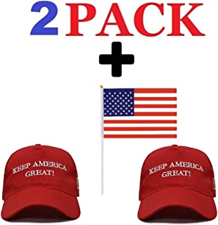 adc2d6c3e Make America Great Again Hat [2 Pack] with American Flag (5.5 x 8in