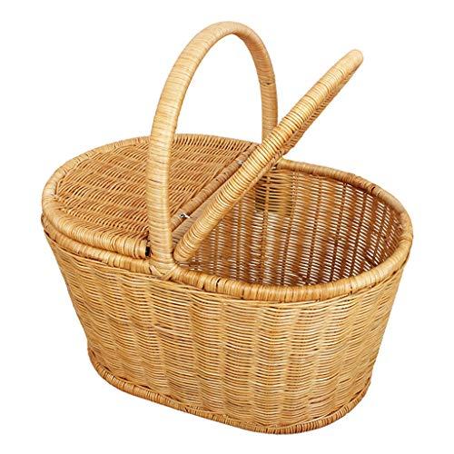 Panier en bambou en rotin pour pique-nique en plein air, panier à provisions, panier à provisions en bambou (Taille : Small yellow)