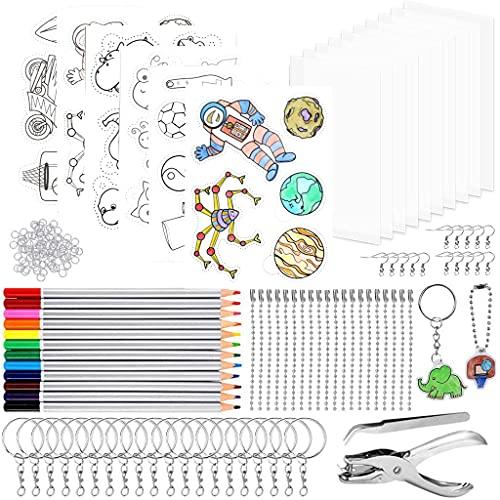 Juego de 184 láminas retráctiles, herramientas de manualidades para regalo, decoración, incluye papel termorretráctil A5, llaveros, lápices, cadenas de bolas, perforadores, pinzas, para niños DIY