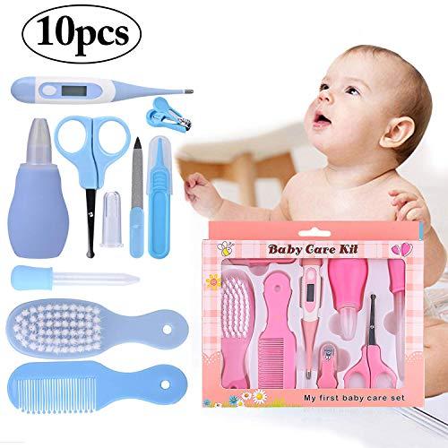 Kit de soins pour bébé, 10 Pcs Kit de toilettage pour bébé Kit de soins pour bébé Soins de santé Pépinière Essential Baby Set de manucure (Pink)