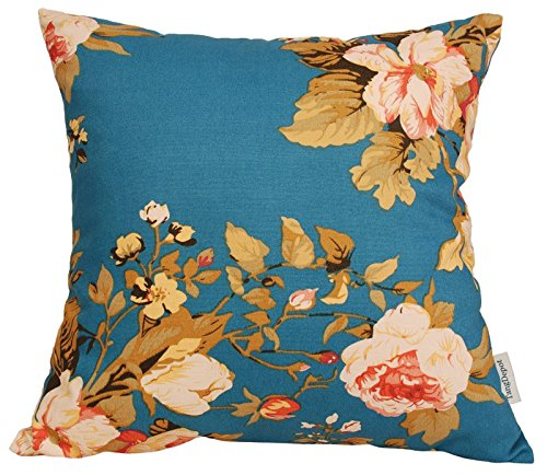 """TangDepot Set of 2 100% Cotton Floral/Flower Printcloth Decorative Throw Pillow Covers Cushion Covers - (18""""x18"""" 2 Pieces, S19 Tree Peony -Blue)"""