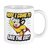 Funny Here I Come to Save The Day Taza de regalo divertida de cerámica de 11 oz