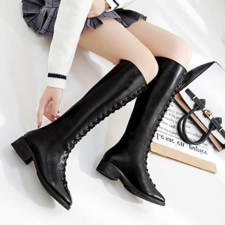 Shukun Stiefeletten Winter Spitze Punk Stiefel Weibliche Hohe Röhre Dicke Niedrige Ferse Stiefel Lederstiefel    Lebendige Form