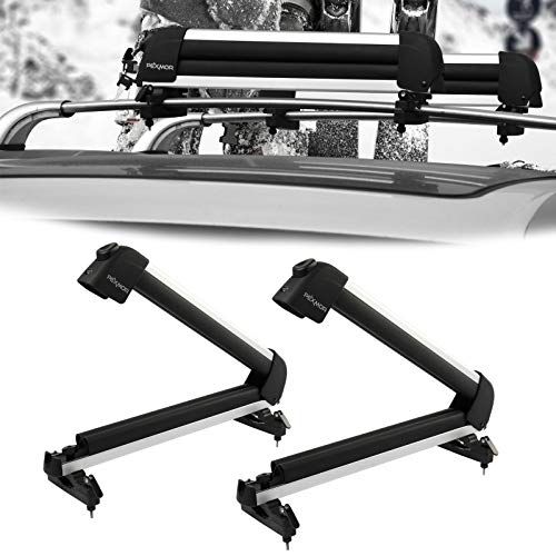 Bonnlo 23' Universal Ski Snowboard Car Racks Fits for 2 Pairs Skis / 1 Snowboards, Aviation Aluminum Lockable Ski Roof Carrier Fit Most Vehicles Equipped Cross Bars