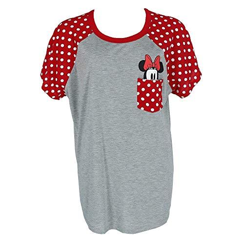 Disney Plus Size Fashion Contrast Shoulder Top Minnie Pocket Gray Red XXXL