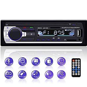Radio Coche Bluetooth, YYKJ 1 DIN FM Radio de Coche Reproductor de MP3 Soporte Bluetooth/EQ/USB/TF/SD/AUX Receptor de Audio + Control Remoto