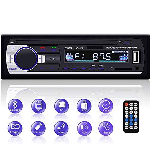 Autoradio Bluetooth, YYKJ 1 DIN Autoradio Audio, Single Din Car FM Radio Head Unit Unterstützung EQ / USB / TF / SD / AUX Audio Receiver + Fernbedienung Single Din Mp3 Player