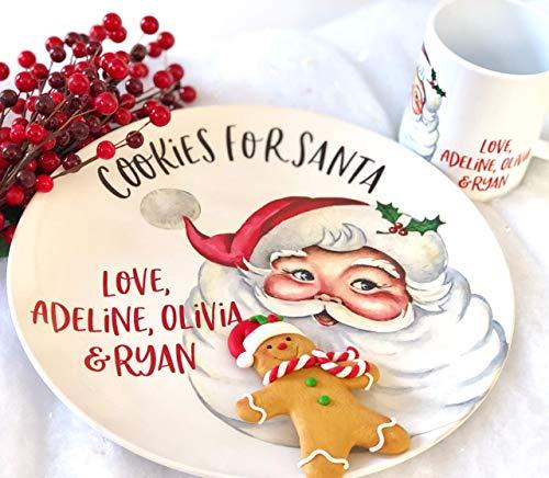 Christmas Personalized Cookies for Santa Plate Milk Mug