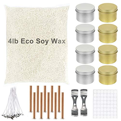FAUETI Soy Wax and Candle Making Supplies, 4lb Natural Wax Beads with DIY Candle Craft kit, Including 8 Tins/10 Plus Wooden Wicks /20 Cutton Wicks/2 Holder/50 Stickers, Great Gift Set for Adult