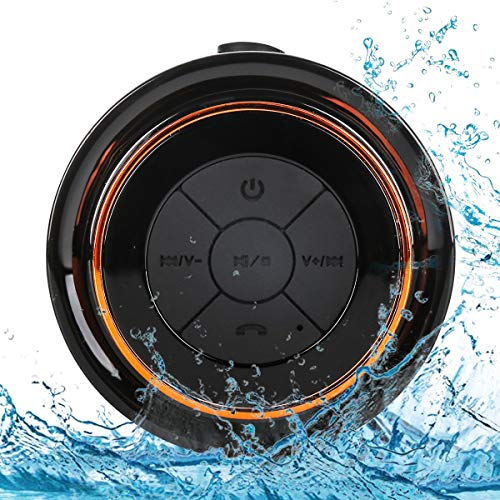 Bluetooth Shower Speakers, HAISSKY Portable Wireless Waterproof Speaker with FM Radio & Suction Cup, Pairs Easily to Your Bluetooth Devices - Phones, Tablets, Computer (Black & Orange)