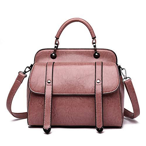 JiDan Damen-Umhängetaschen Damentasche Öl Wachs Leder Luxus Handtasche Hochwertige Umhängetasche Damen Messenger Bag Pink