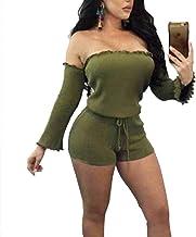 BHJTR One Shoulder Summer Neck Jumpsuits Casual Short Sleeve Loose Elastic Waist Romper Playsuits for Women Red/Black/Green