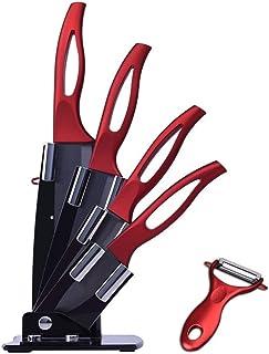 Couteau en céramique Ensemble couleur rouge poignée Peeler fruits couteaux légumes Cuisine Zirconia Noir Couteau en cérami...