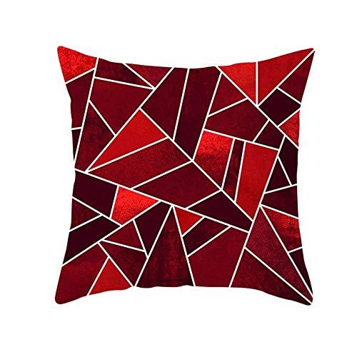 Jingpyij Fodere per Cuscini Divano Rosso Geometrico Quadrati Decorativi in Velluto Morbido Fodere per Cuscino per Arredamento Casa Camera da Letto Soggiorno Auto Copricuscini M3845 Pillowcase,50x50cm