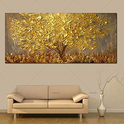 YMKWQF Wandbilder Hand Painted Knife Gold Tree Oil Painting On Canvas Large Palette 3D Paintings for Living Room Modern Abstract Wall Art Pictures 40X80CmUnframed