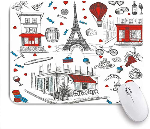 Geevosun Mauspad Fahrrad heizt handgezeichnete Französisch Europa Paris Luftballons Fahrrad Café Kaffeeturm Land alte Zeichnung angepasste Mauspad rutschfeste Gummibasis für Computer Laptop Büro