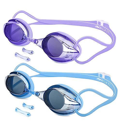 Gafas de Natación, 2 Paquetes Antiniebla Gafas para Nadar Protección UV sin Fugas para Adultos Y Niños(Azul, Negro y Morado)