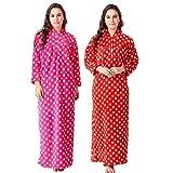 CIERGE Full Length Star Pattern Woolen Nighty (Red & Pink)