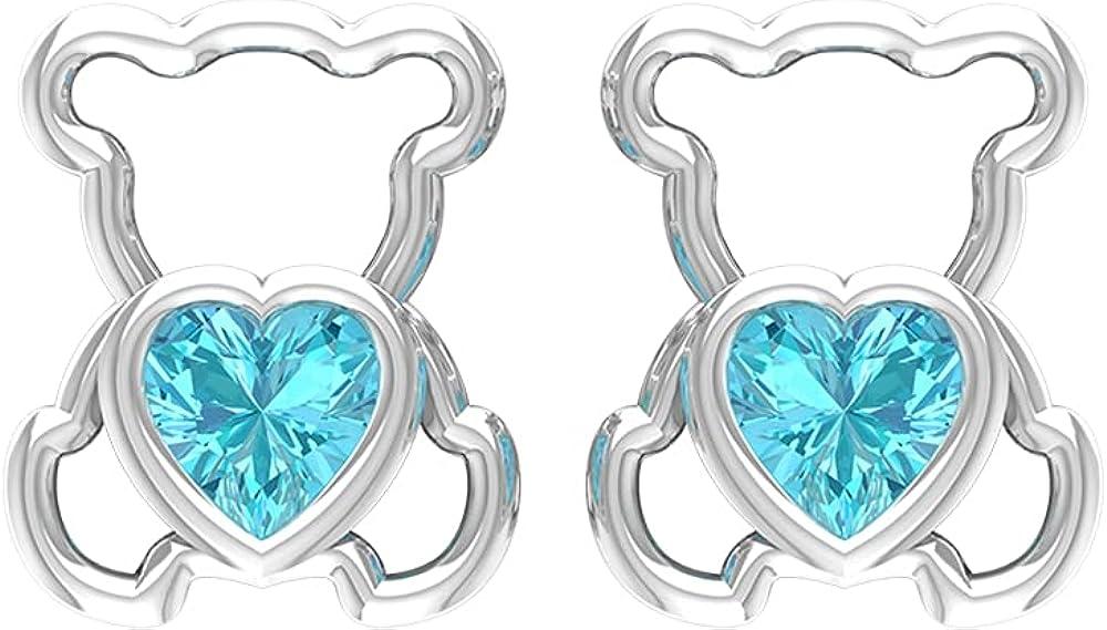 1 CT Teddy Bear Stud Earrings with Swiss Blue Topaz (4 MM Heart Cut Swiss Blue Topaz), Screw back
