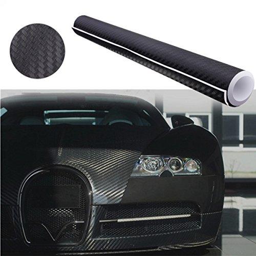 Audew Autofolie Carbon Folie Aufkleber 3D DIY Film Vinyle 12\'\'x60\'\' Auto Flexibel Fiber Carbon Fiber Schwarz