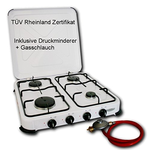 Camping Gaskocher Hochwertiger 4 flammiger Kocher Campingkocher  / Lieferung inklusive 80cm Anschlussschlauch und Druckminderer - Arbeitet mit Propangas - Gasherd Gasofen