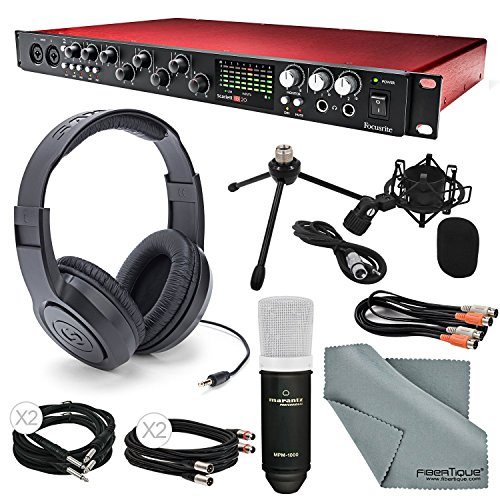 Focusrite Scarlett 18i20 USB 2.0 Audio Interface (2nd Gen) - Deluxe Kit W/Cables, Marantz Professional Large-Diaphragm Condenser Microphone, Samson Stereo Headphones, FiberTique Cleaning Cloth