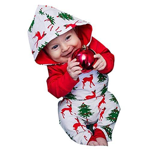 Hui.Hui Ensemble Garçon Fille Bébé Santa Christmas t -Shirt à Capuche Imprimé Dessin Animé Haut Longues Manches Vêtements et Pantalons Tenues de Costume Hiver