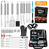 AISITIN Kit Barbecue Ustensiles Barbecue 35 Pièces Accessoire Barbecue Acier Inoxydable pour Homme Femme Camping Barbecue