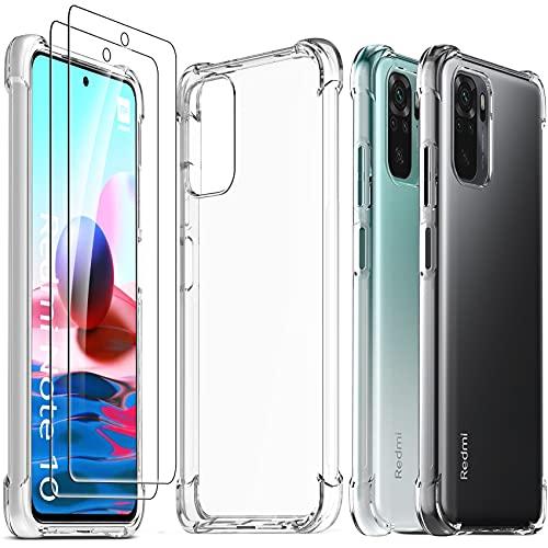 Ferilinso Funda para Xiaomi Redmi Note 10 4G/ Note 10S + 2 Piezas Cristal Templado Protector de Pantalla [Transparente TPU Carcasa] [10X Anti-Amarilleo] [Anti-Choque] [Anti-arañazos]