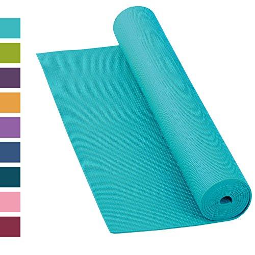 Yogamatte ASANA MAT, 183 x 60cm, 4mm PVC mit OEKO-TEX, gute Yoga-Matte nicht nur für Anfänger, Sticky Mat, Gymnastikmatte, phtalatfrei, schadstofffrei (türkis)
