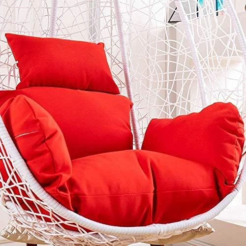 Chairs Cojín de columpio, cojín de mimbre para colgar huevos de ratán, desmontable, con almohada gruesa para colgar en la parte trasera, blanco, color: blanco (color: rojo)