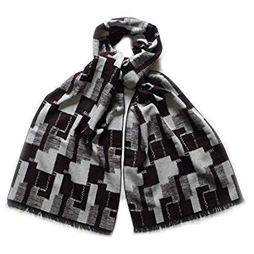 LIDA LYDI Flanell-Schal 100% Seide/Silk. Farbe Schokolade Dunkelblau und Beige. 180cm x 32cm.