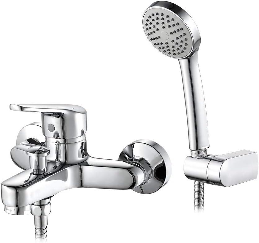 Ibergrif ROMA - Grifo para Bañera, Mezclador de Baño-Ducha Monomando para Instalación en Pared, Cromo
