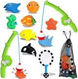 Liberty Imports Magnetic Toddler Bath Toys | Kids Fishing Pool Game Set of 2 Fishing Poles, 8 Rubber Sea Animals, & Net | Water Toys with Mesh Organizer Bag