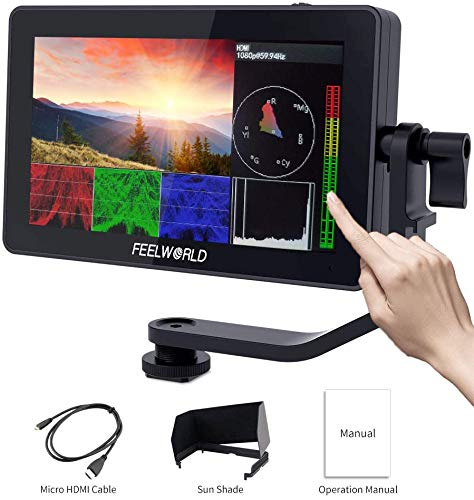 Feelworld F6 Plus 5.5 Pollici On Camera Field DSLR Monitor Touch Screen HDR 3D Lut Forma d'onda Small Full HD 1920x1080 IPS Video Peaking Focus Assist con 4K HDMI Tipo C 8.4V DC Output