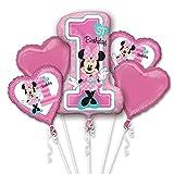Bouquet 5 palloni foil Minnie 1st Birthday