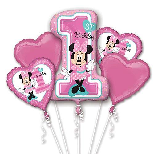Amscan 3437901 Ramo de globos de papel de aluminio rosa con diseño de Mickey y amigos, 5 unidades