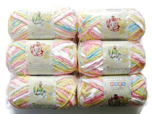 BERNAT Baby Blanket Yarn, 3.5oz, 6-PACK (Pitter Patter) Baby Soft Yarn Pastel